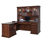 Kathy Ireland Home by Martin Furniture Huntington Oxford L-Shape Executive Wood Home Office Set with Hutch in Burnish