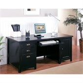 Kathy Ireland Home by Martin Furniture Tribeca Loft Double Pedestal Wood Computer Desk in Black