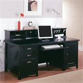 Kathy Ireland Home by Martin Furniture Tribeca Loft Double Pedestal Wood Computer Desk with Reception Hutch in Black