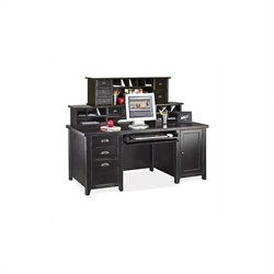 Kathy Ireland Home by Martin Tribeca Loft Double Pedestal Wood Computer Desk with Hutch in Black