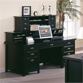 Kathy Ireland Home by Martin Furniture Tribeca Loft Double Pedestal Wood Executive Desk Set with Hutch in Black