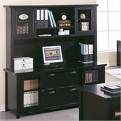 Kathy Ireland Home by Martin Furniture Tribeca Loft Black Credenza with Hutch with Sliding Doors