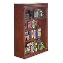 Kathy Ireland Home by Martin Huntington Club 4-Shelf Bookcase in Vibrant Cherry