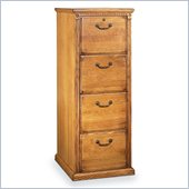 Kathy Ireland Home by Martin Furniture Huntington Oxford 4 Drawer Vertical Wood File Storage Cabinet in Distressed Wheat