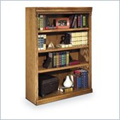 Kathy Ireland Home by Martin Furniture Huntington Oxford 4 Shelf Wood Bookcase in Distressed Wheat