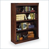 Kathy Ireland Home by Martin Furniture Huntington Oxford 4 Shelf 48H Wood Bookcase in Burnish