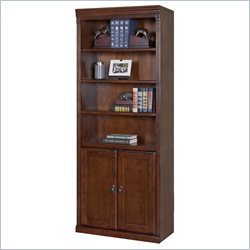 Kathy Ireland Home by Martin Huntington Oxford 6 Shelf Wood Bookcase in Burnished Brown