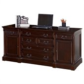 Kathy Ireland Home by Martin Furniture Mount View Wood Computer Credenza in Cherry Cobblestone