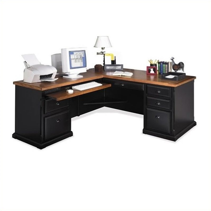 Kathy Ireland Home by Martin Furniture Southampton LHF L-Shaped Executive Desk in Oynx Black
