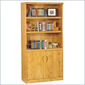 Kathy Ireland Home by Martin Furniture Waterfall 5 Shelf Wood Bookcase with Doors in Medium oak