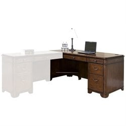 Kathy Ireland Home by Martin Kensington Desk for Left Hand Facing Keyboard Return in Warm Fruitwood