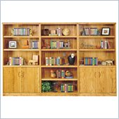 Kathy Ireland Home by Martin Furniture Waterfall Trio Library Wall Bookcase in Oak