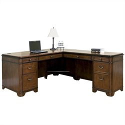 Kathy Ireland Home by Martin Kensington L-Shaped Right Handed Computer Desk in Warm Fruitwood
