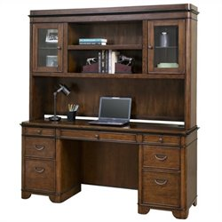 Kathy Ireland Home Computer Credenza and Hutch in Warm Fruitwood