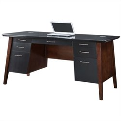 Kathy Ireland Home by Martin iNfinity Exec Desk in Black w/ Bourbon