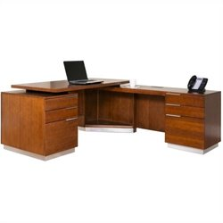 Kathy Ireland Home by Martin Monterey L-Shaped Desk in Toasted Almond