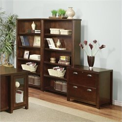 Kathy Ireland Home by Martin Tribeca Loft Bookcase Cabinet Set in Cherry