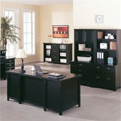 Kathy Ireland Home by Martin Tribeca Loft Computer Desk Set in Onyx Black
