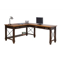 Martin Furniture Hartford Open L-Shaped Desk in Two Tone Black