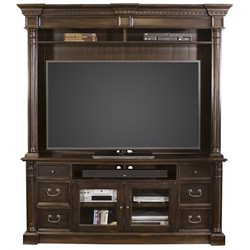 Martin Furniture Wellington TV Stand with Hutch in Dark Cherry