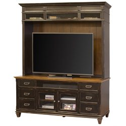 Martin Furniture Hartford TV Stand with Hutch in Two Tone Black