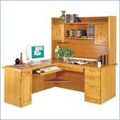 Kathy Ireland Home by Martin Furniture Waterfall L-Shape Wood Home Office Set with Hutch in Medium Oak