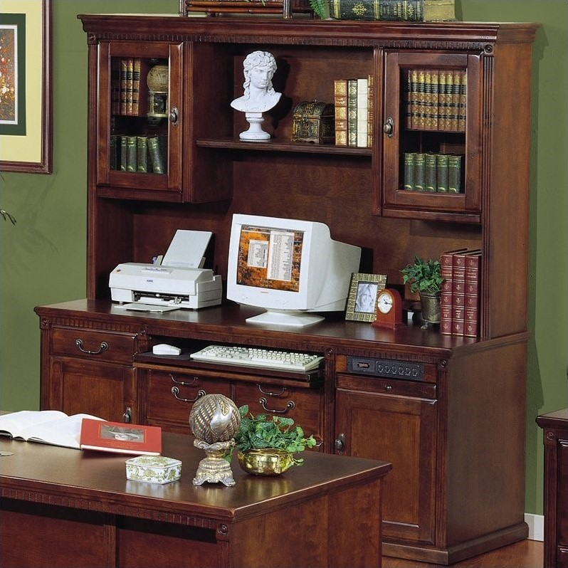 Kathy Ireland Home by Martin Huntington Club Storage Credenza with Hutch in Vibrant Cherry
