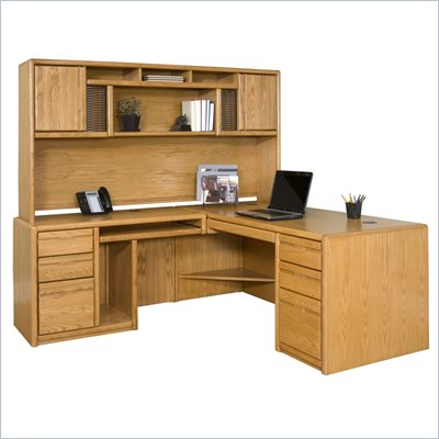 Kathy Ireland Home by Martin Furniture Contemporary L-Shape Left Facing Wood Home Office Set in Oak