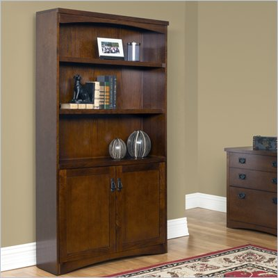 Kathy Ireland Home by Martin Furniture California Bungalow 3 Shelf Wood Bookcase with Lower Doors in Oak