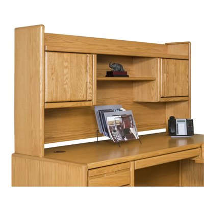 Kathy Ireland Home by Martin Furniture Contemporary Solid Wood Bookshelf Hutch in Oak