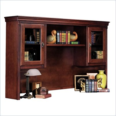 Kathy Ireland Home by Martin Furniture Huntington Club Solid Wood Hutch Top with Two Glass Doors and Pullout Task Light Bridge in Distressed Cherry