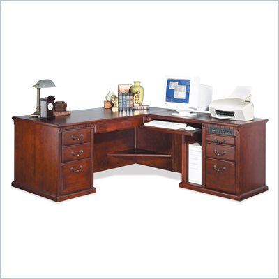 Kathy Ireland Home by Martin Furniture Huntington Club Wood Return Executive Desk in Distressed Cherry