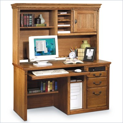 "Kathy Ireland Home by Martin Furniture Huntington Oxford 55"" Wood Computer Desk with Hutch in Wheat"