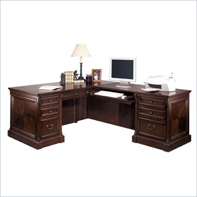 Kathy Ireland Home by Martin Furniture Mount View L-Shape Wood Computer Desk Set with Right Return in Cherry Cobblestone