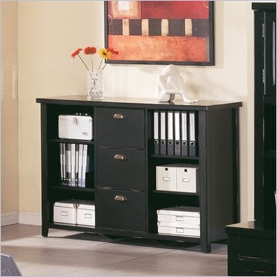 Kathy Ireland Home by Martin Furniture Tribeca Loft 3 Drawer Lateral Wood File Storage Bookcase in Black