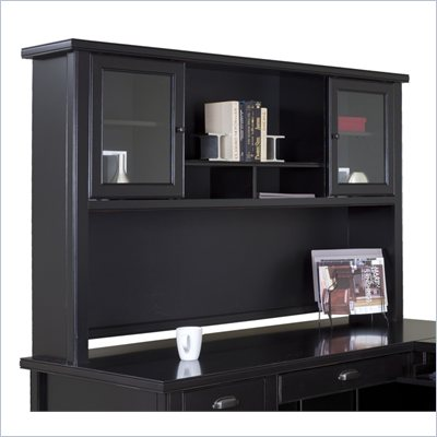 Kathy Ireland Home by Martin Furniture Tribeca Loft Black Hutch with Sliding Glass Doors