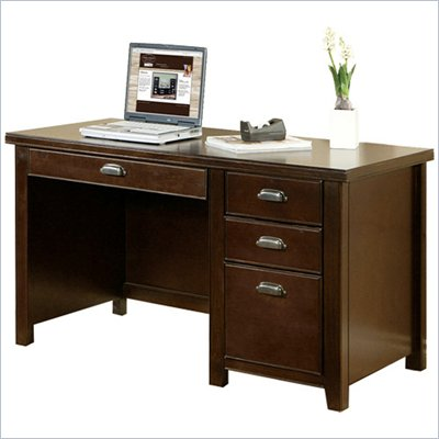 Kathy Ireland Home by Martin Furniture Tribeca Loft Single Pedestal Wood Computer Desk in Cherry