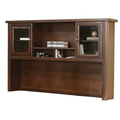 Kathy Ireland Home by Martin Furniture Tribeca Loft Cherry Hutch With Sliding Doors
