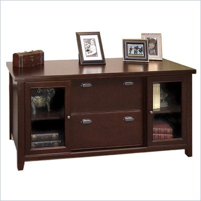 Kathy Ireland Home by Martin Furniture Tribeca Loft Cherry Storage Credenza with Sliding Doors