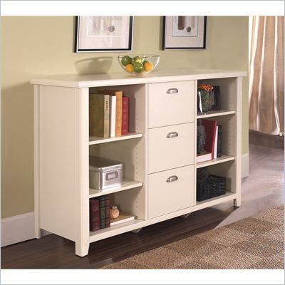 Kathy Ireland Home by Martin Furniture Tribeca Loft Office 3 Drawer Lateral Wood File Cabinet in Distressed White 