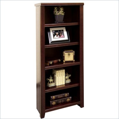 Kathy Ireland Home by Martin Furniture Tribeca Loft 4 Shelf Wood Bookcase in Cherry