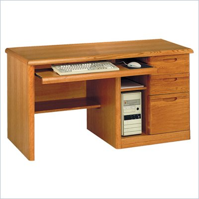 Kathy Ireland Home by Martin Furniture Waterfall Single Pedestal Wood Computer Desk in Medium Oak