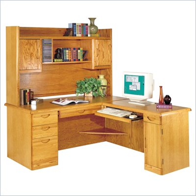 Kathy Ireland Home by Martin Furniture Waterfall L-Shape Wood Home Office Set in Oak