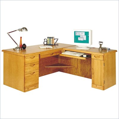 Kathy Ireland Home by Martin Furniture Waterfall Right L-Shape Wood Computer Desk in Medium Oak