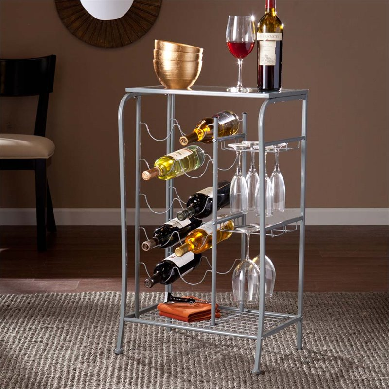 Southern Enterprises Marengo Wine Rack Storage Table in Silver