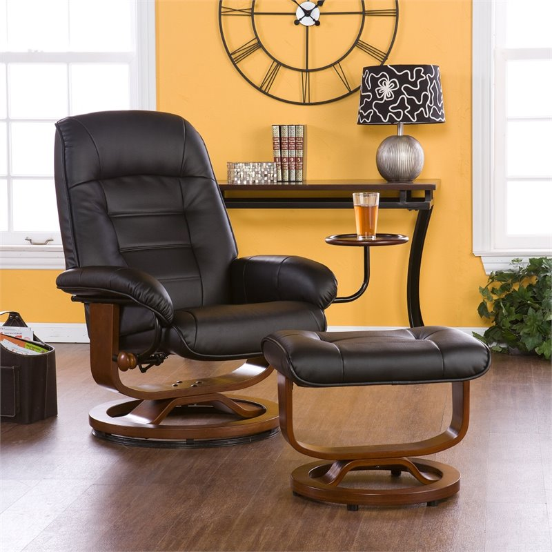 Southern Enterprises Leather Recliner And Ottoman In Black