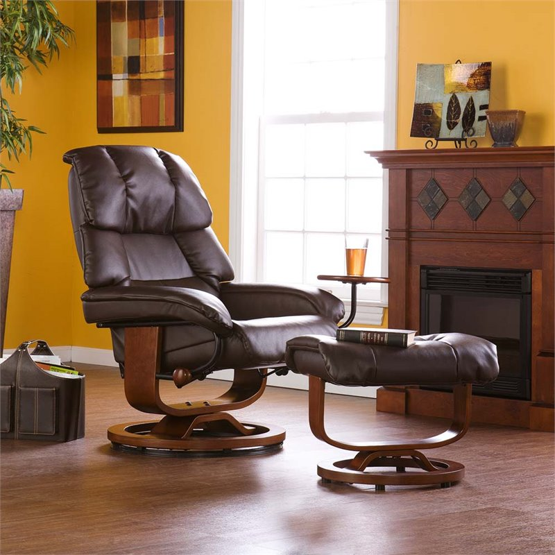 Southern Enterprises Leather Recliner And Ottoman In Cafe Brown