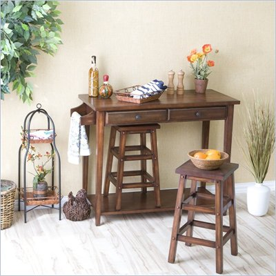 Southern Enterprises 3 Piece Breakfast Bar Set in Espresso