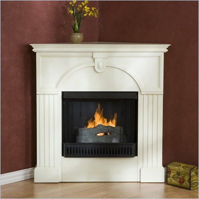 Southern Enterprises Sinclair Antique White Fireplace