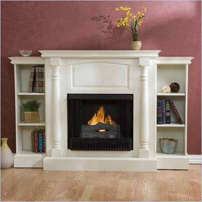 Southern Enterprises Sutter Antique White Fireplace with Bookcases